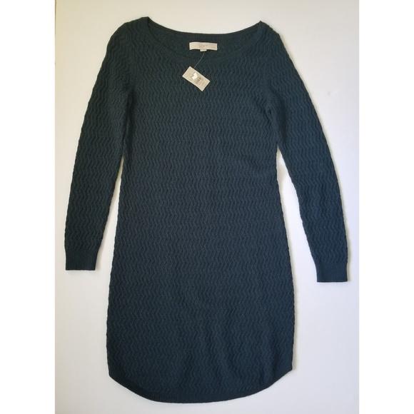 7e01c01a27 NWT LOFT L S Cable Sweater Dress - Dark Turq XSP